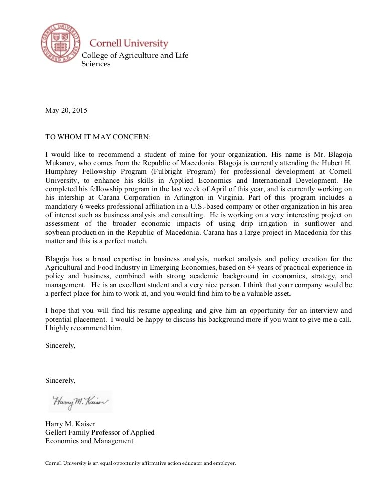 cornell letter of recommendation