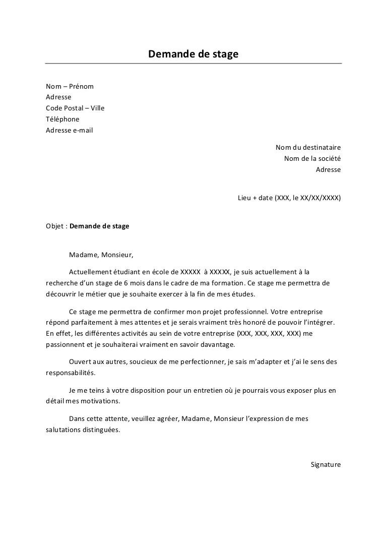 image lettre administrative pour demande de stage lettre de presentation
