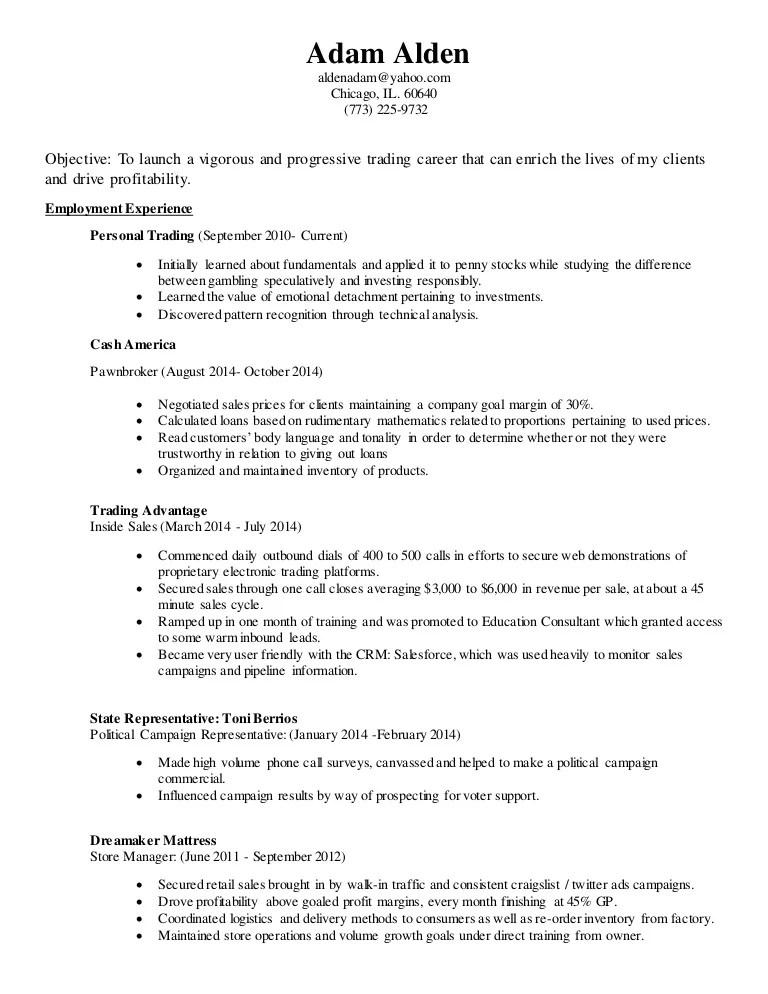 pawn broker resume sample