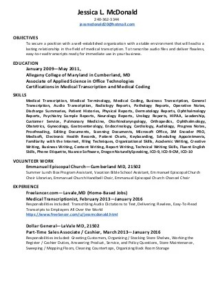 medical transcription sample resume radiovkm