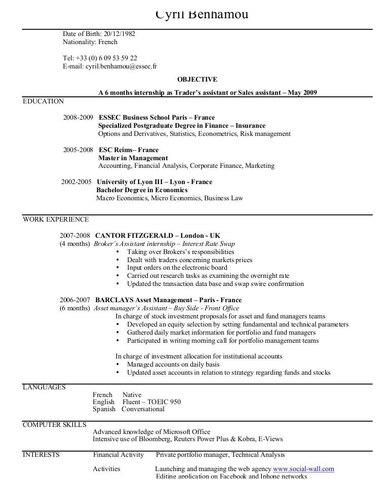 Equity Prop Trader Resume - Contegri - stock broker resume