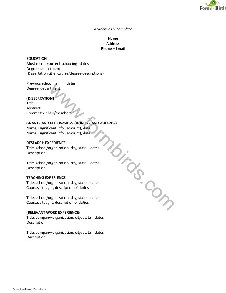 academic cv template download - Muckgreenidesign - Academic Cv Template