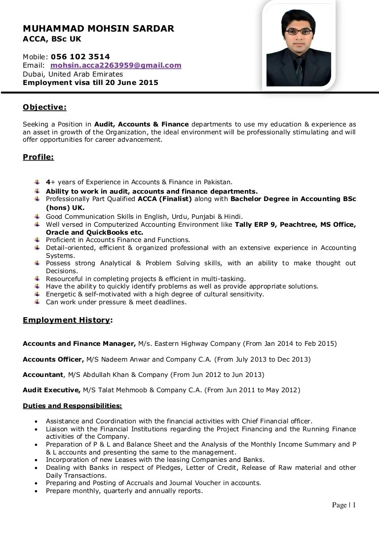 acca affiliate resume sample