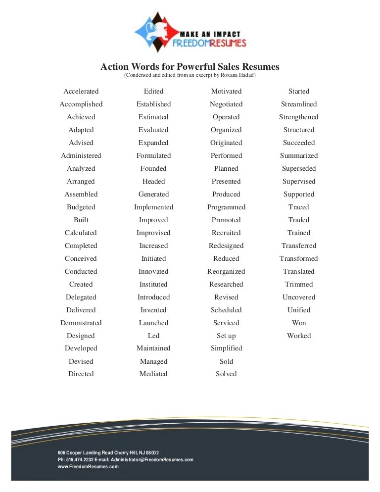 verbs to use in a resumes