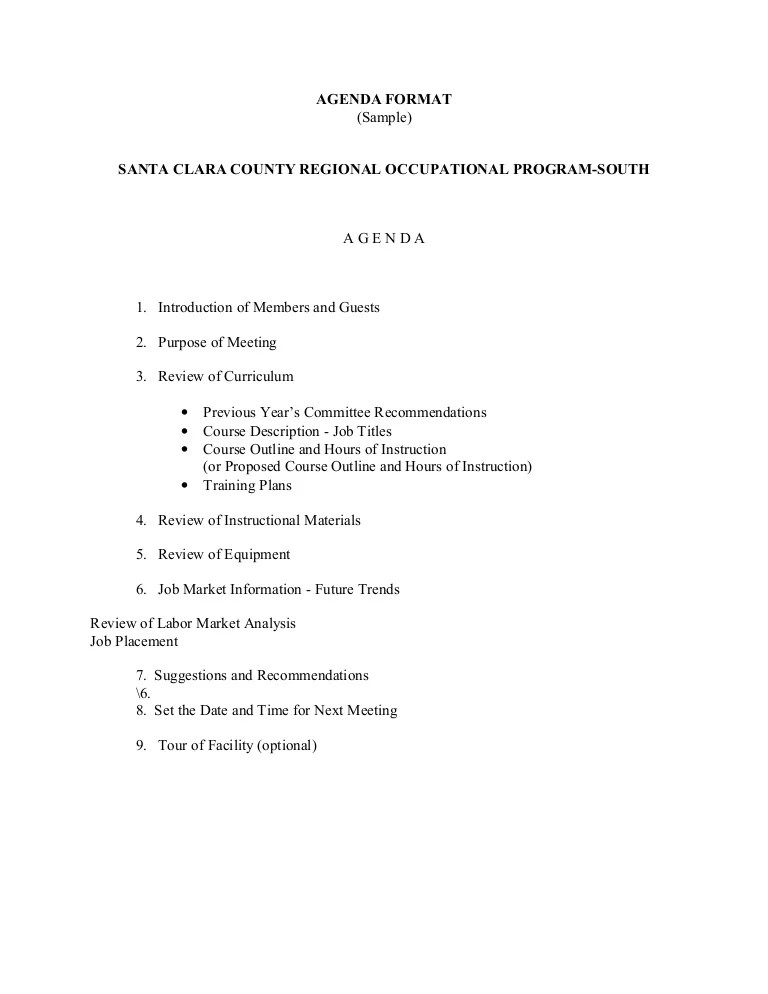 agenda of meeting sample - Josemulinohouse