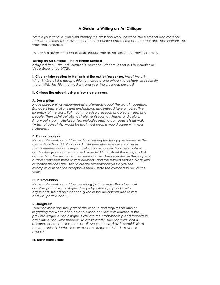 art critique example essay - Alannoscrapleftbehind - sample artist statement