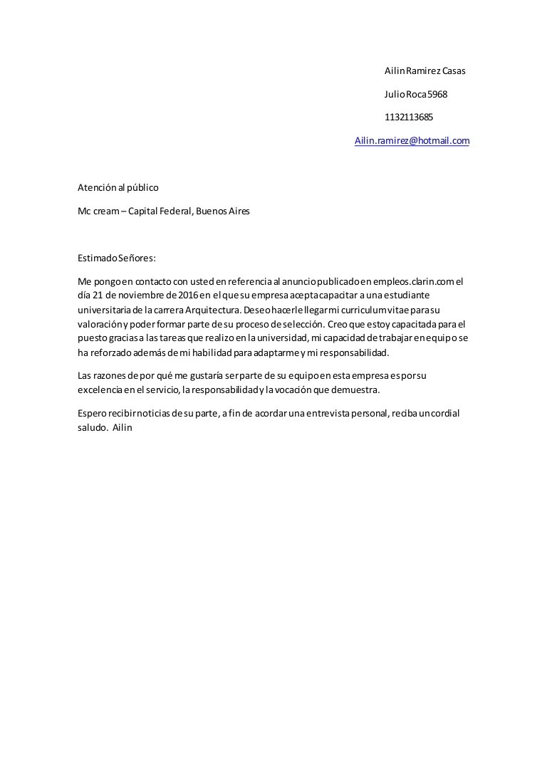 carta presentacion cv
