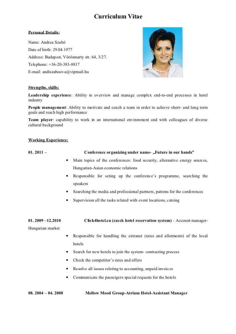cv en english example