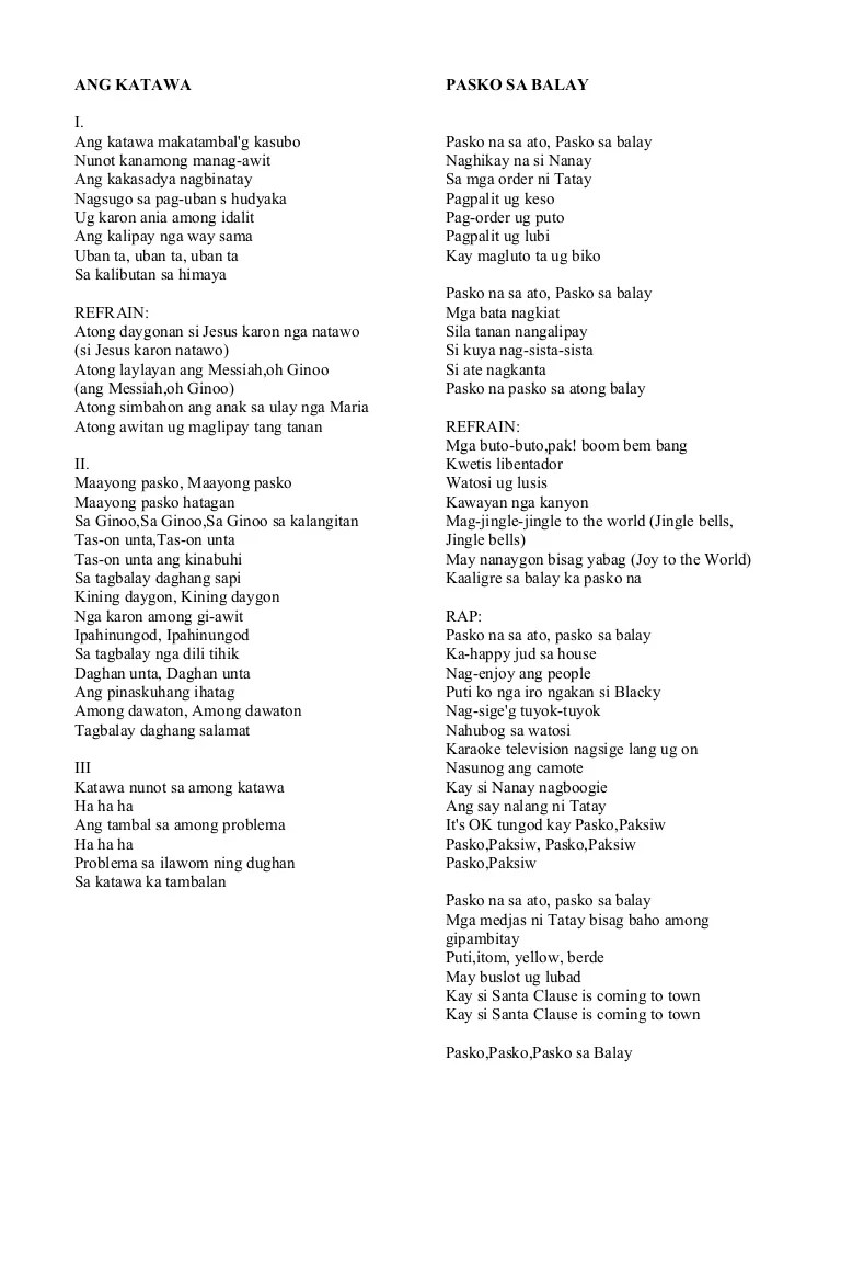 Bisaya Christmas Songs Chords Images