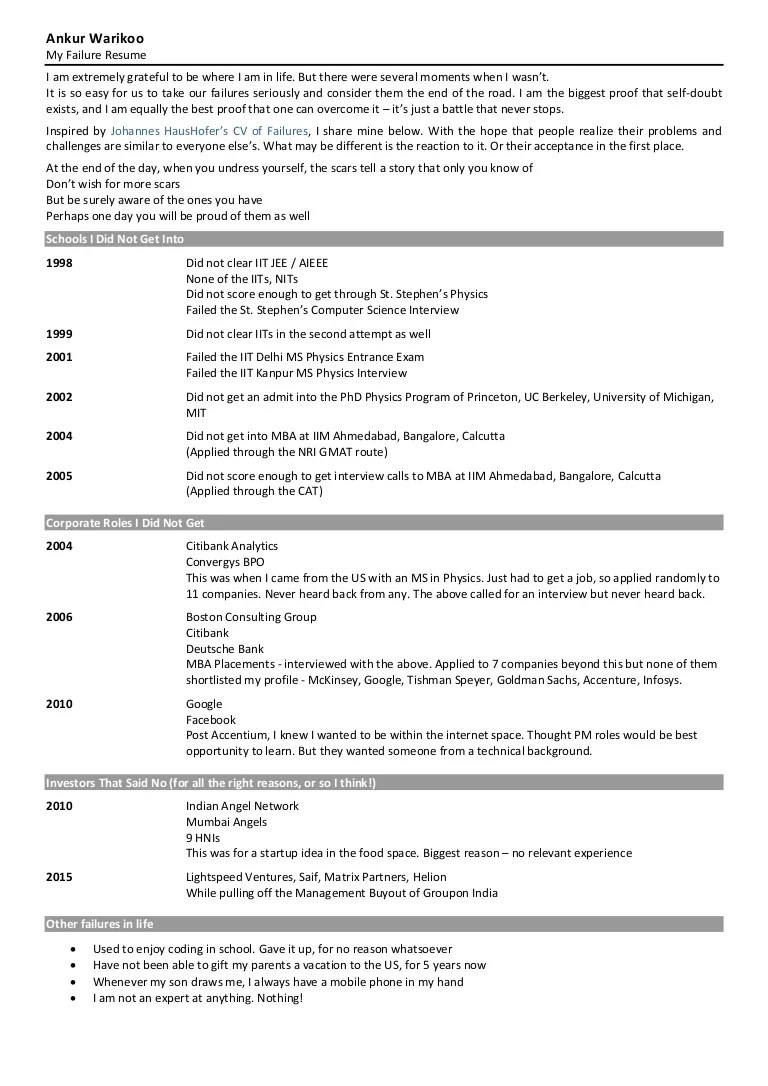 example of failure resume