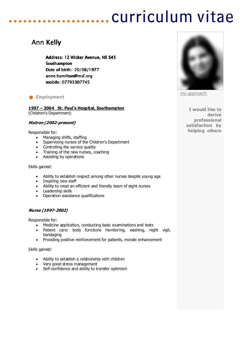 exemple de resume presentation cv