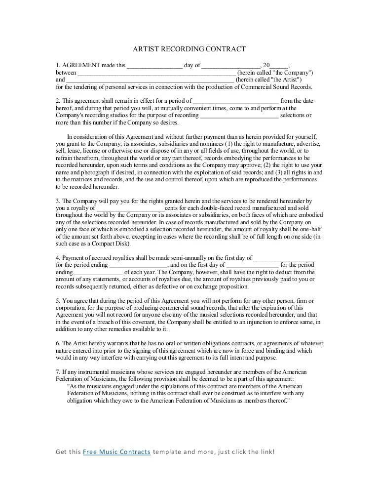 Music Artist Contract Agreement Image collections - Agreement Letter