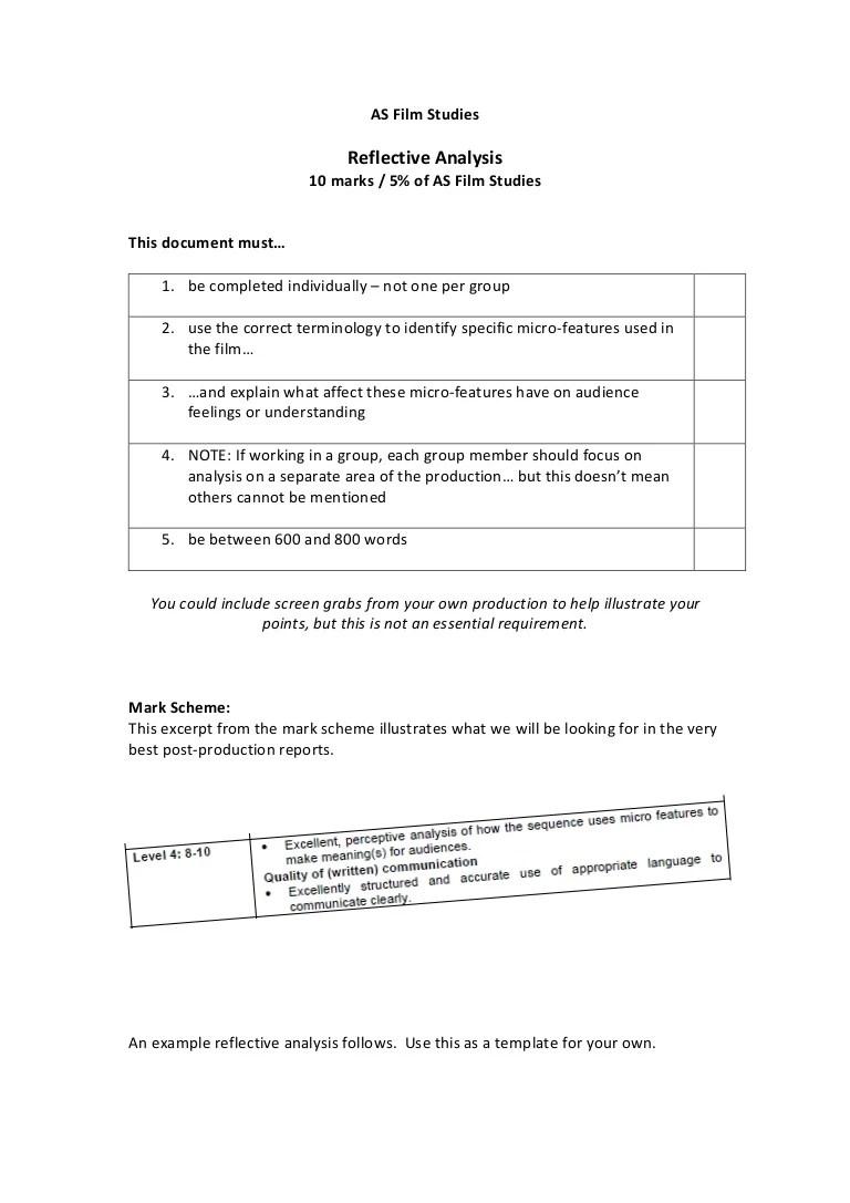 reflective analysis essay