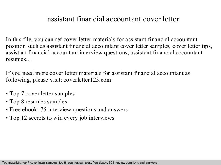 assistant financial accountant cover letter - Onwebioinnovate - accountant cover letter sample
