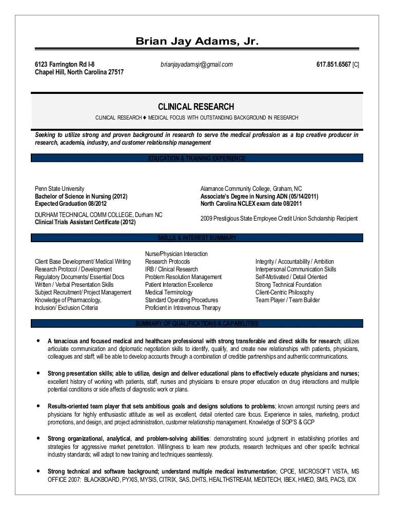 clinical research resumes - Maggilocustdesign