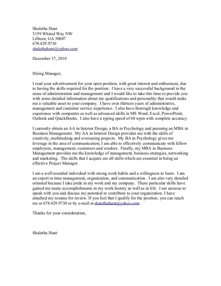 shaletha hunt cover letter