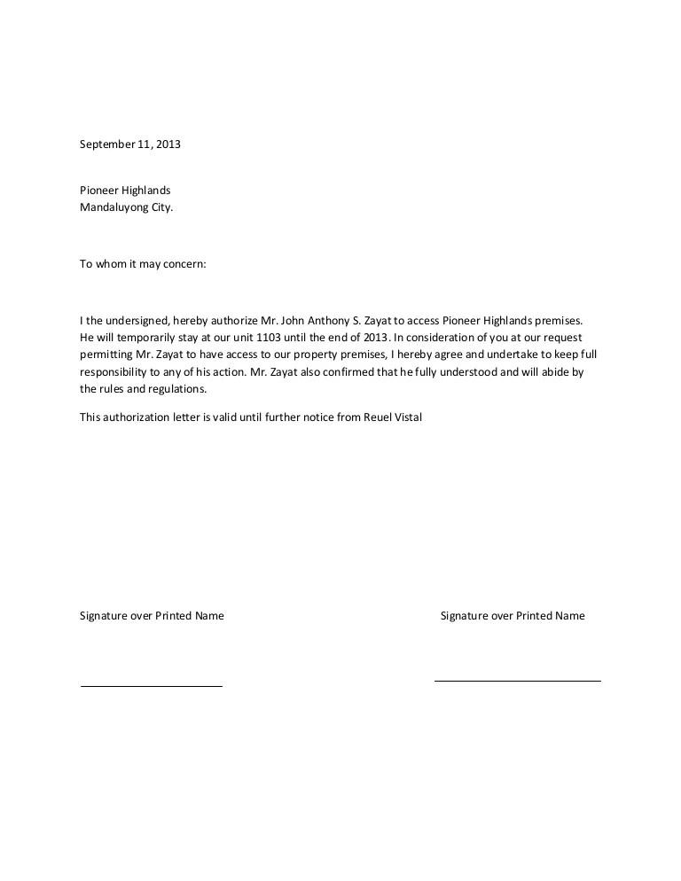 letter authorize - Towerssconstruction
