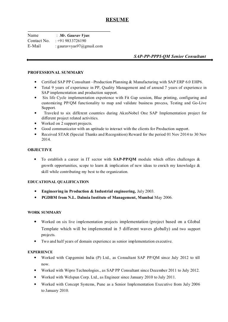 sap pp module sample resumes