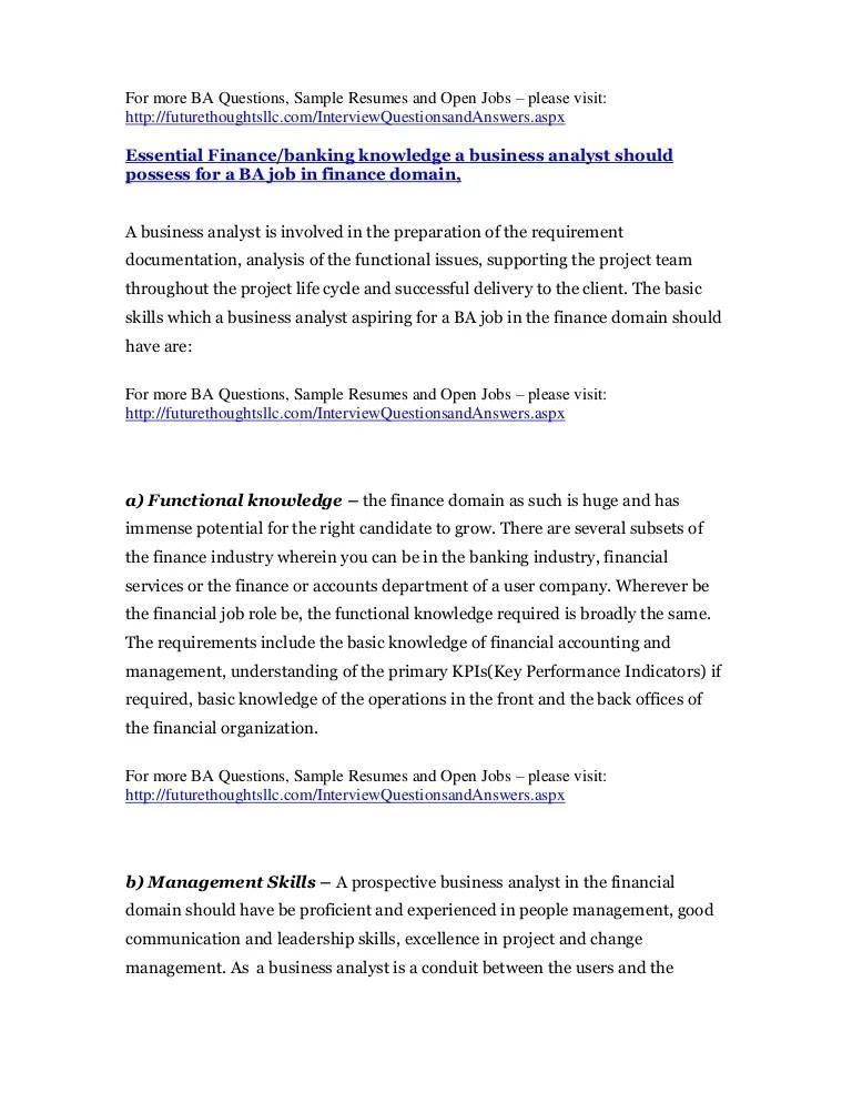 banking business analyst resume - Juvecenitdelacabrera - banking analyst sample resume