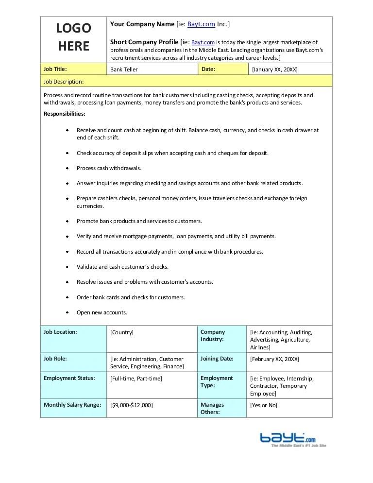 bank teller description - Apmayssconstruction