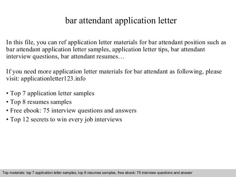 bar attendant cover letter - Alannoscrapleftbehind