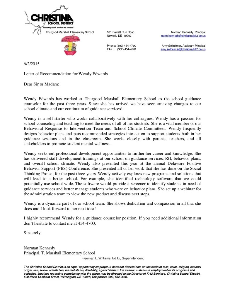 letter of recommendation for principal of the year
