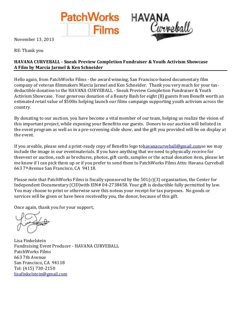 sample thank you letter for fundraising event - Romeolandinez - non profit thank you letter sample