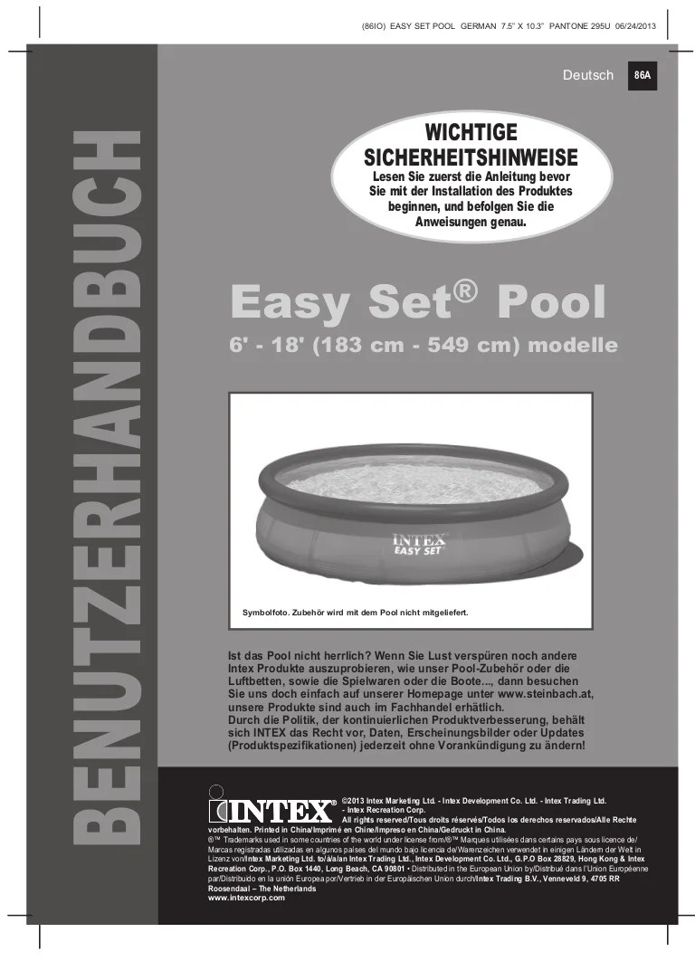 Chlor Pool Milchig Benutzerhandbuch Easy Set Pool Intex Pool