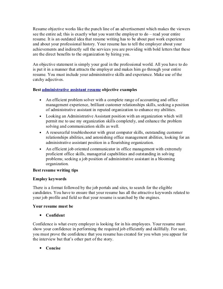 admin resume objective - Akbagreenw - what objectives to put on a resume