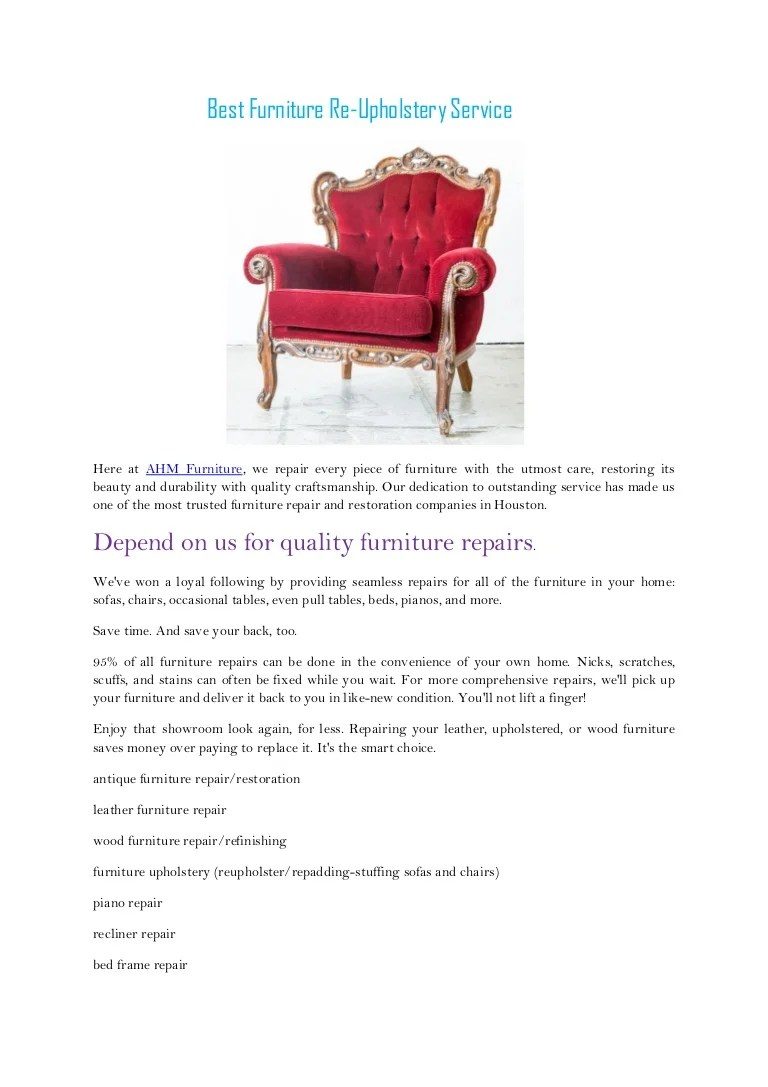 Best furniture re upholstery service