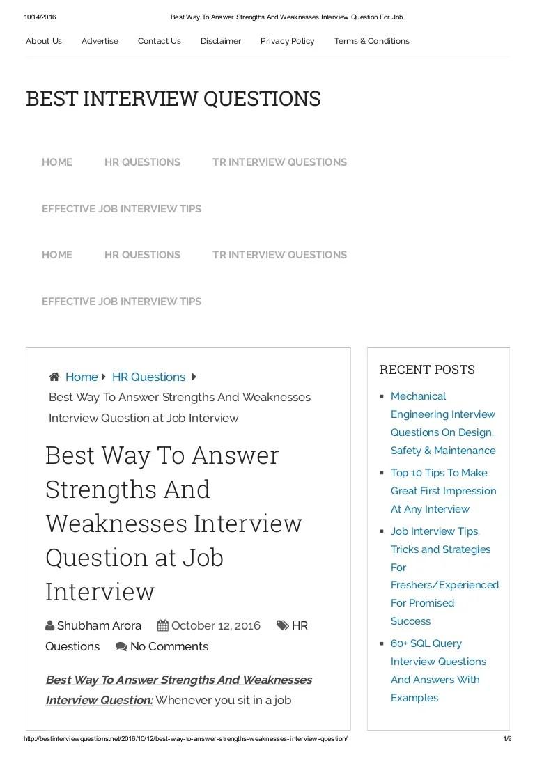 weaknesses job interview
