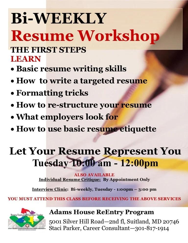 resume workshop activities