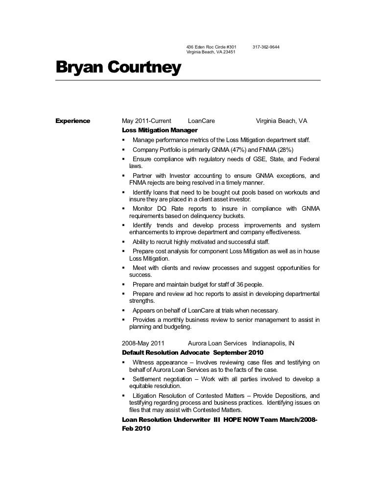 loss mitigation resume - Gottayotti
