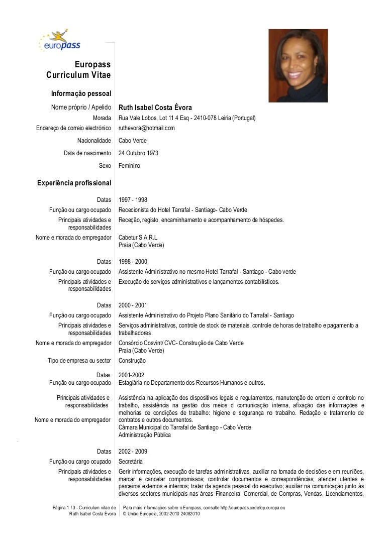 europass cv template em portugues