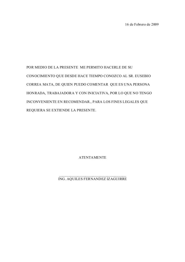 carta de recomendacion de trabajo