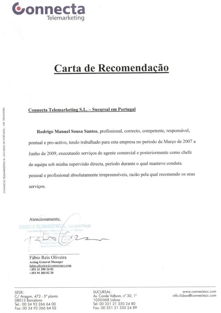 carta de recomendacao profissional