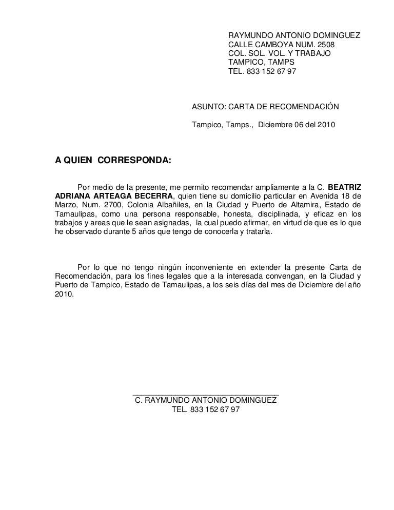 formatos carta de recomendacion laboral - Josemulinohouse
