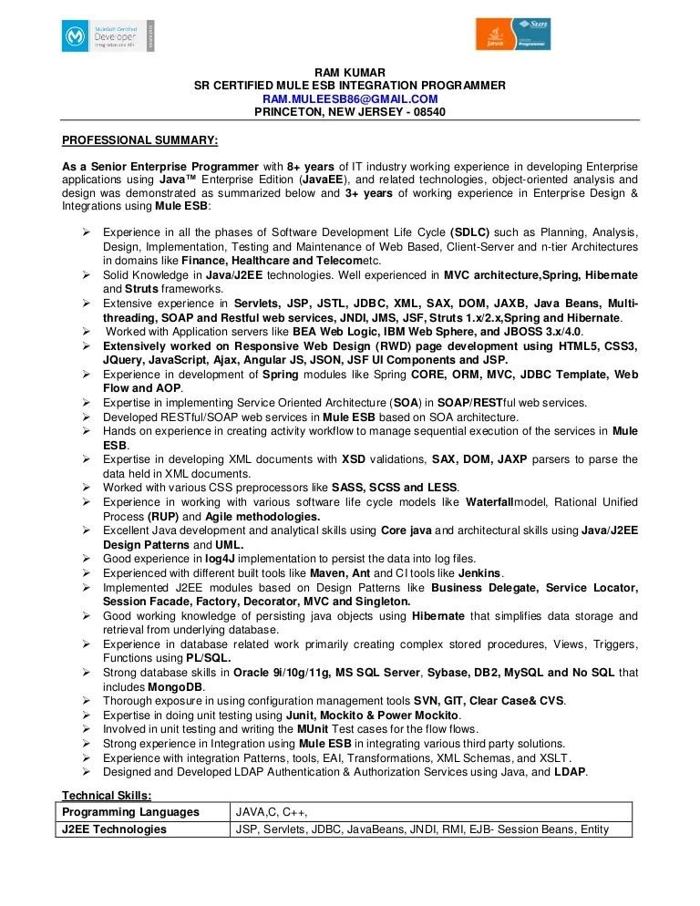 mulesoft resume sample