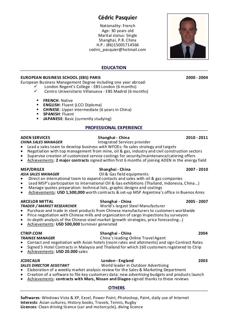 model resume sales manager