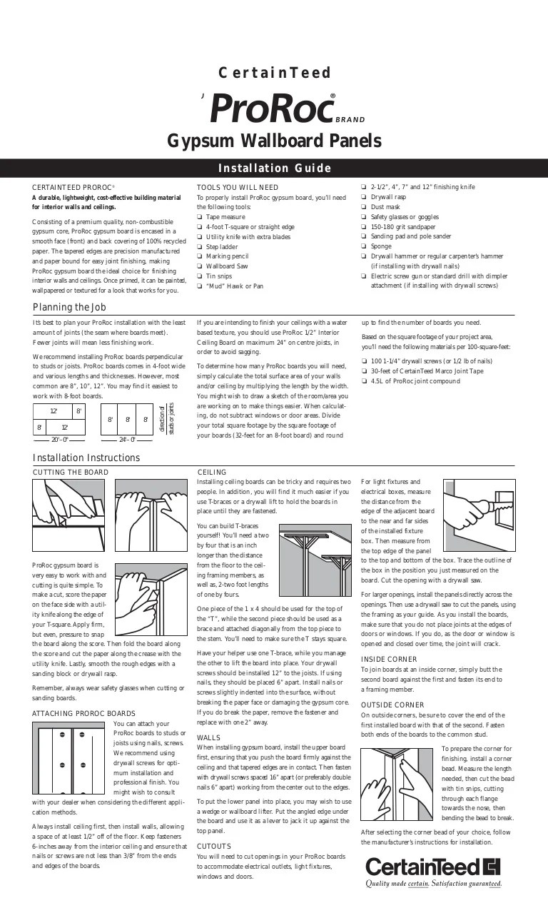3 8 Drywall Certainteed Drywall Installation Guide