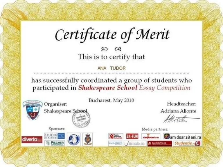 sample of certificate of merit