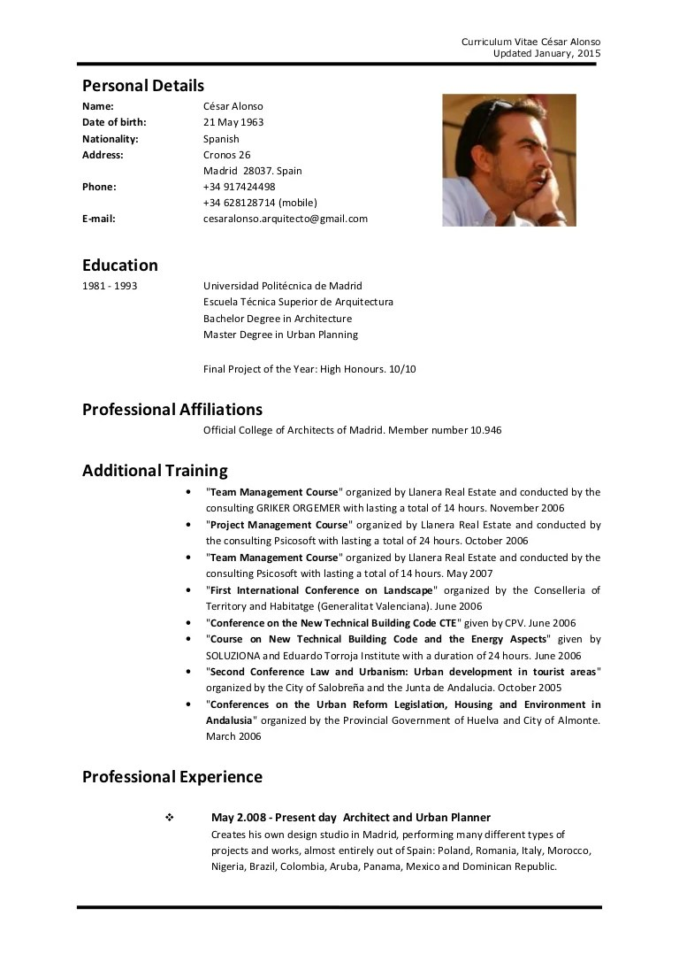 write a cv in english