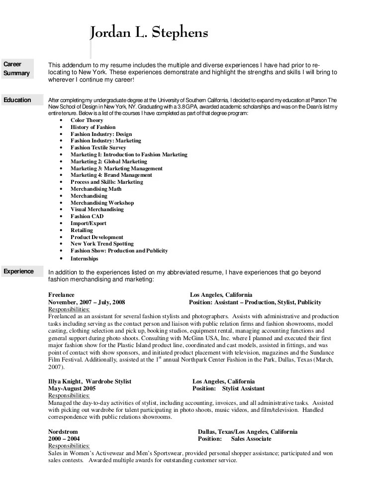 how to write a resume for a job in the fashion industry - Jose
