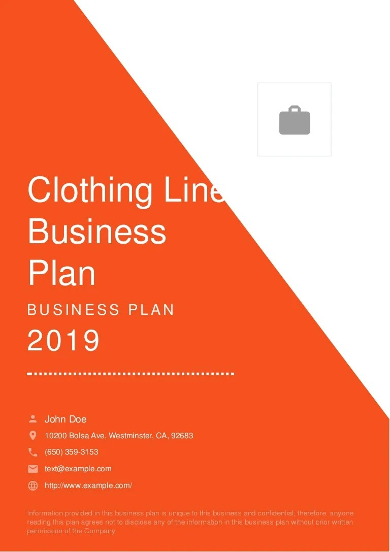 Clothing Line Business Plan Example