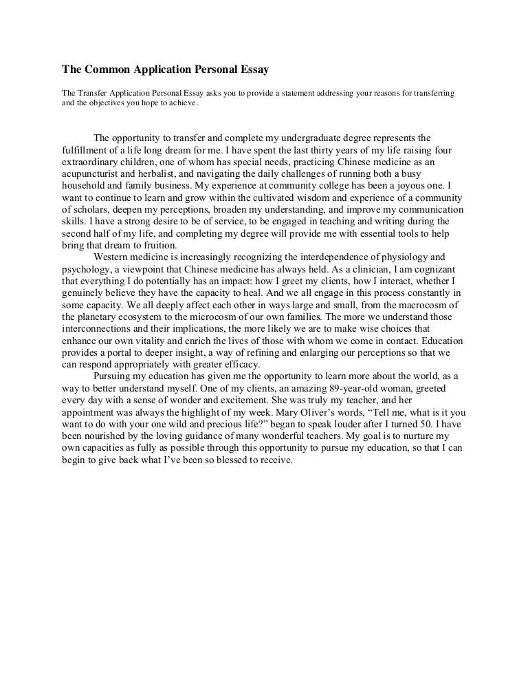 example transfer essays