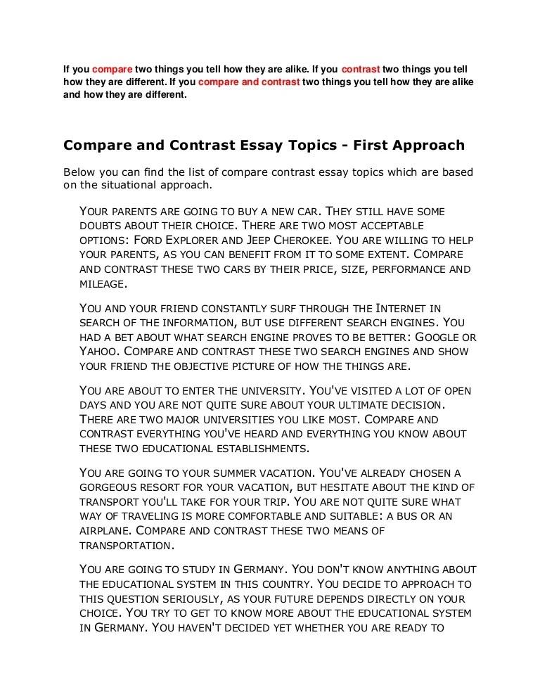 compare contrast essays