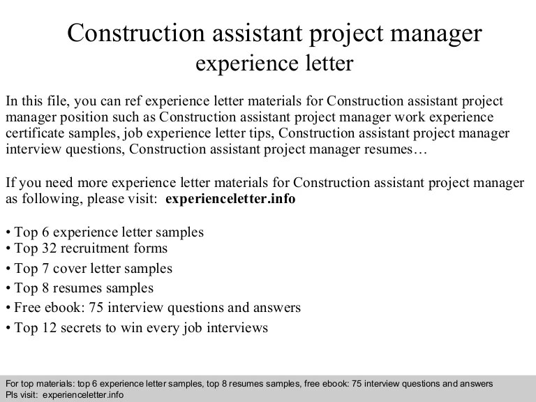 assistant project manager resumes - Onwebioinnovate - construction assistant sample resume