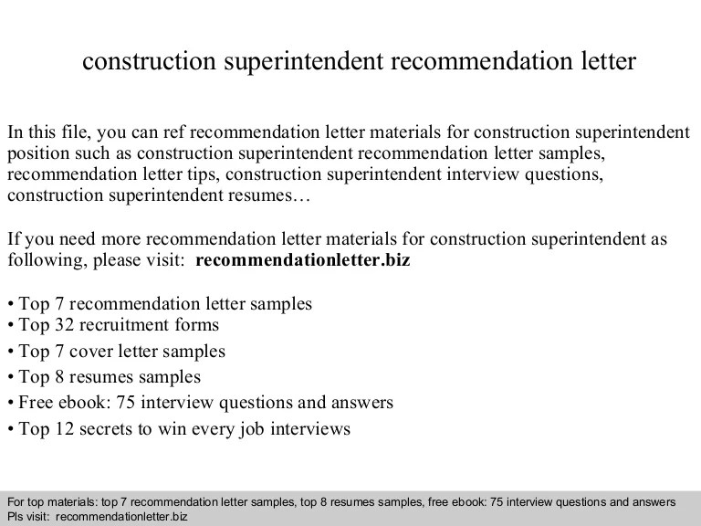 letter of recommendation for construction superintendent - Goal