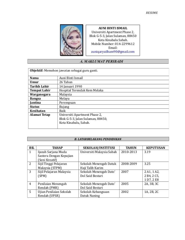 resume bahasa melayu