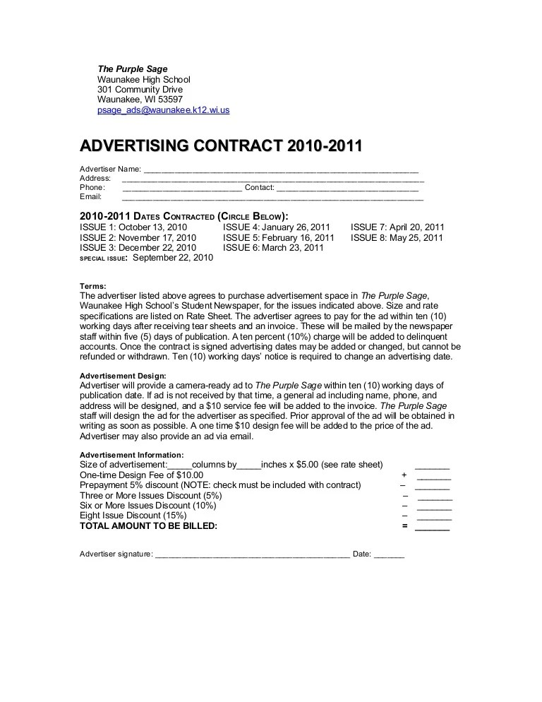 newspaper advertising contract template - Forteeuforic - Advertising Contract Template